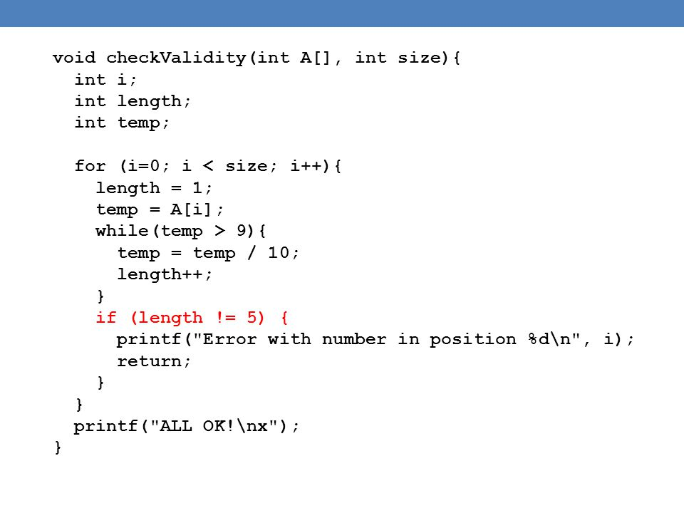 void checkValidity(int A[], int size){